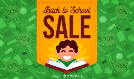 Back to School sale with illustration