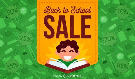 De volta à venda da escola com ilustração