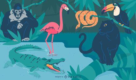 Animais selvagens na ilustração da natureza