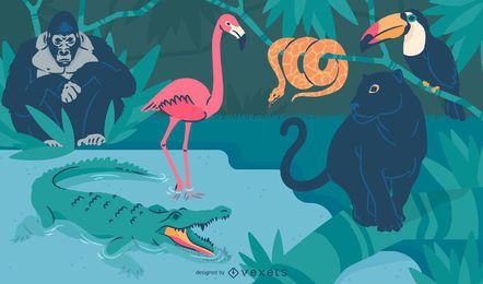 Wild animals in nature illustration