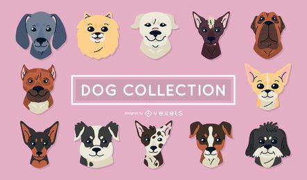 Conjunto de ilustrações de cães