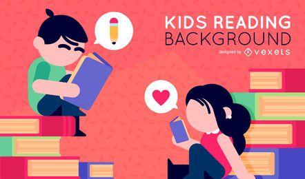 Niños ilustrados leyendo libros.