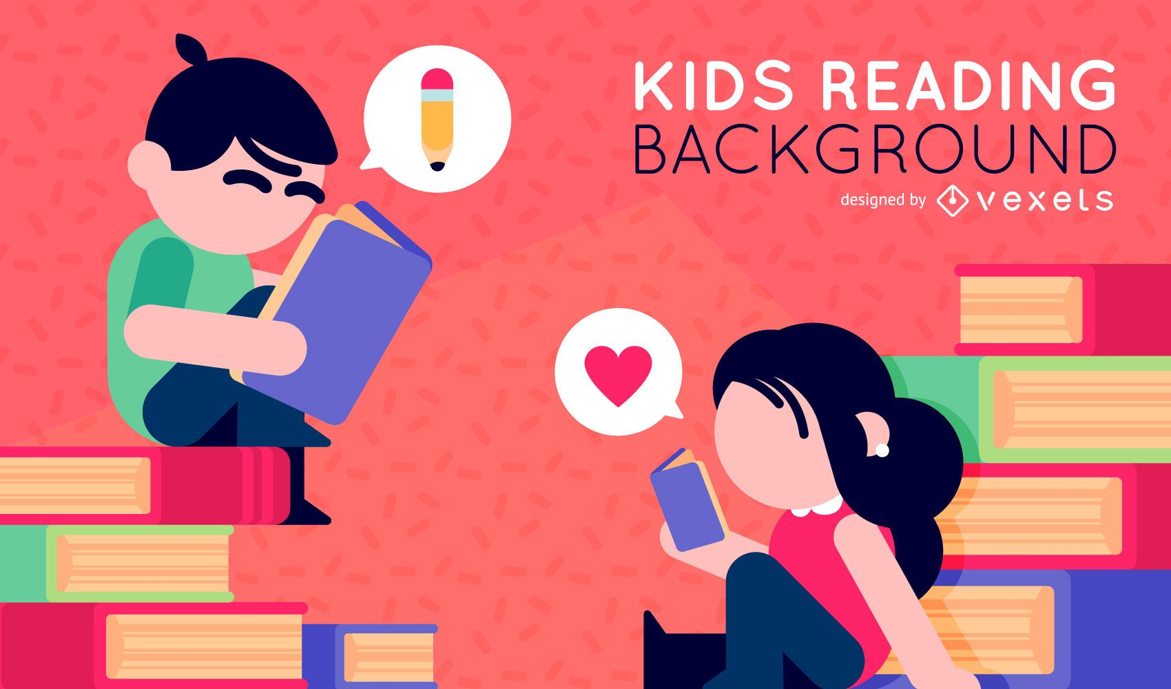 Ni?os ilustrados leyendo libros.