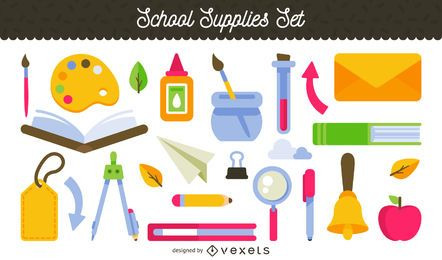 School supplies illustration set