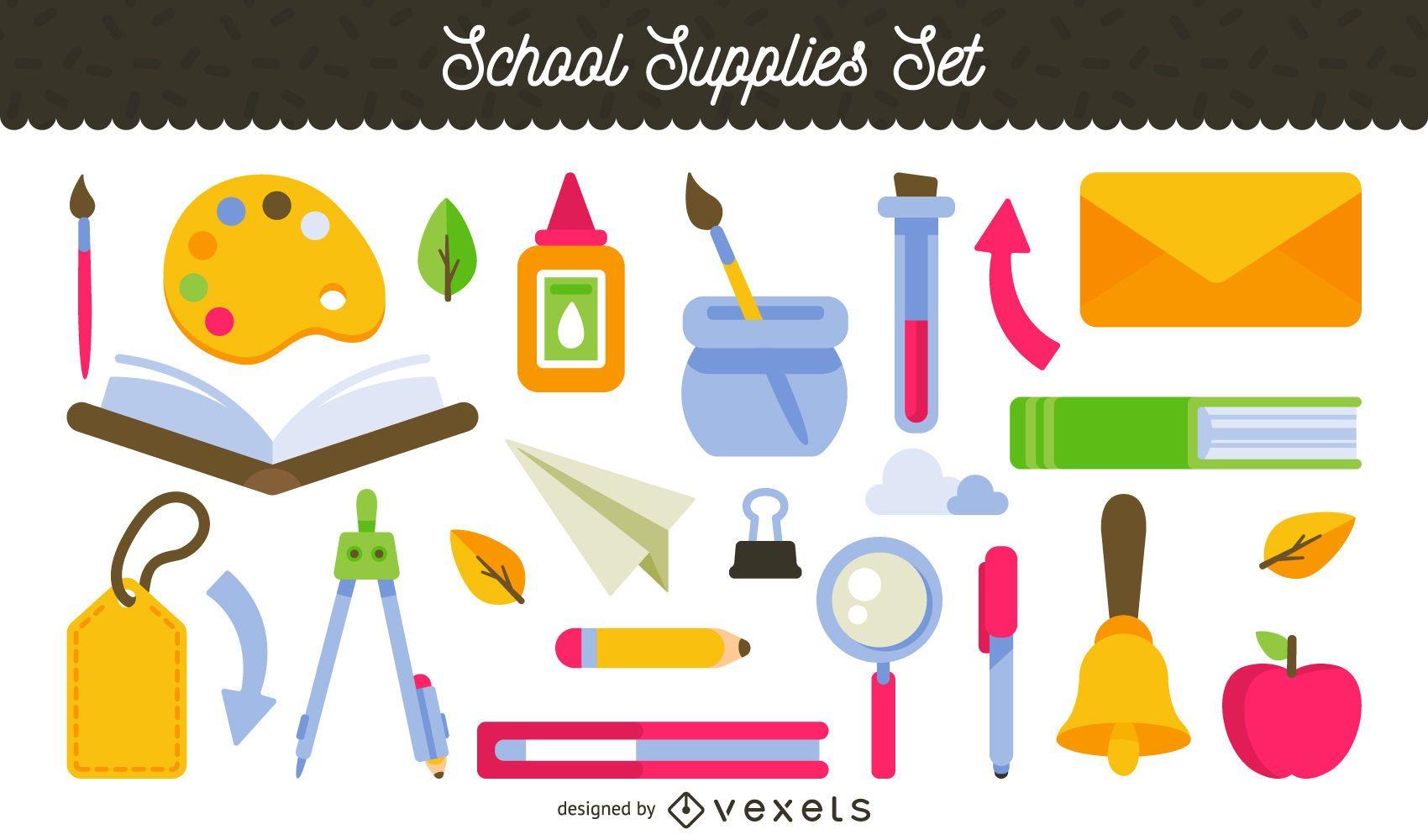 Conjunto de ilustración de útiles escolares