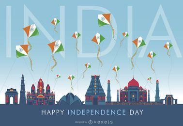 Design da skyline do Dia da Independência da Índia