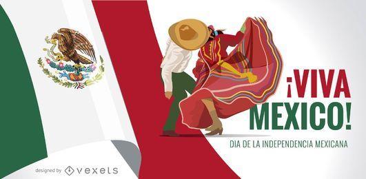 Design da bandeira do Dia da Independência do México Viva México