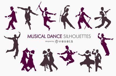 Coleção de silhueta de dança musical