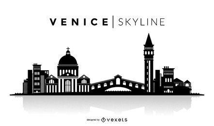 Silueta de Venecia horizonte
