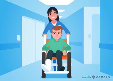 Homem dos desenhos animados na cadeira de rodas ao lado do médico