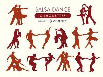 Conjunto de silueta de bailarines de salsa