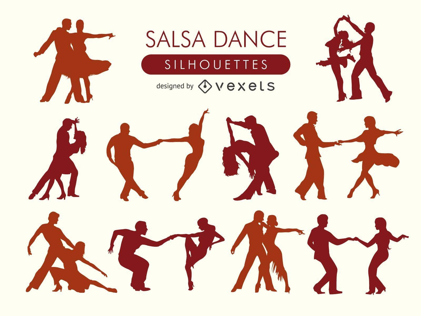 Conjunto de silhuetas de dançarinos de salsa