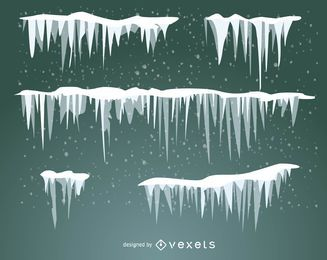 Conjunto de neve ilustrada, geada e pingentes