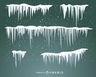 Conjunto ilustrado de neve geada e pingentes de gelo