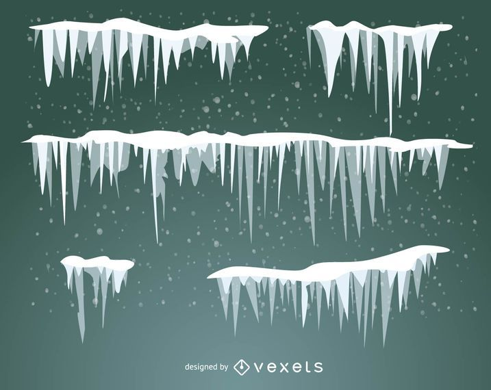 Set of illustrated snow, frost and icicles