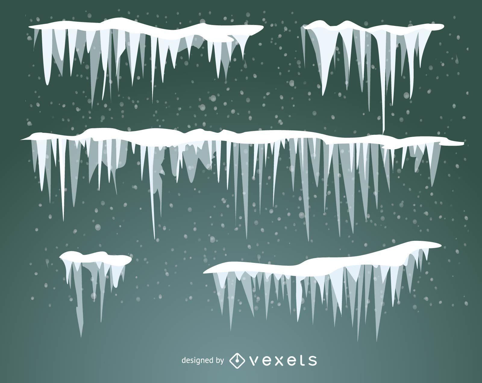 Conjunto de nieve escarcha y carámbanos ilustrados.