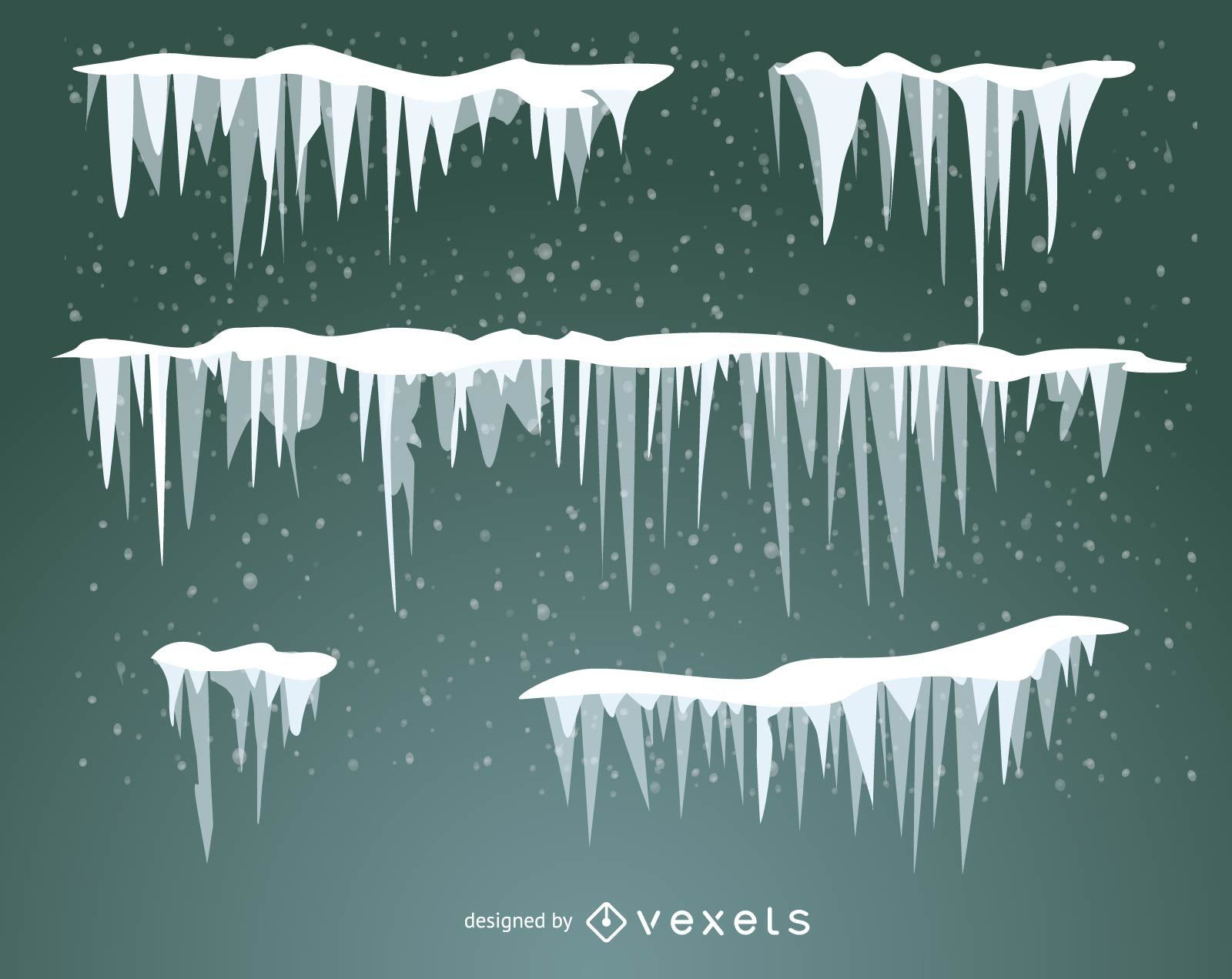 Set of illustrated snow frost and icicles