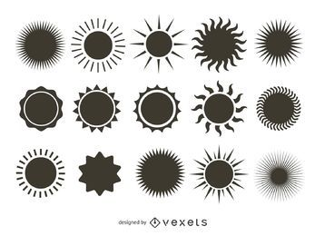 Brillante colección de siluetas de sol
