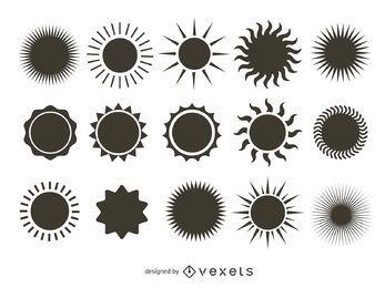 Coleção brilhante silhueta do sol