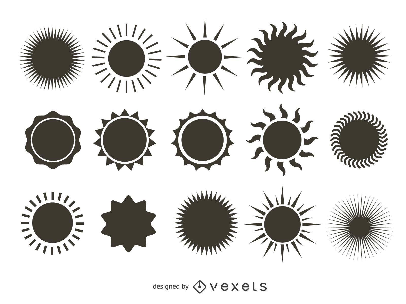 Colección de silueta de sol brillante