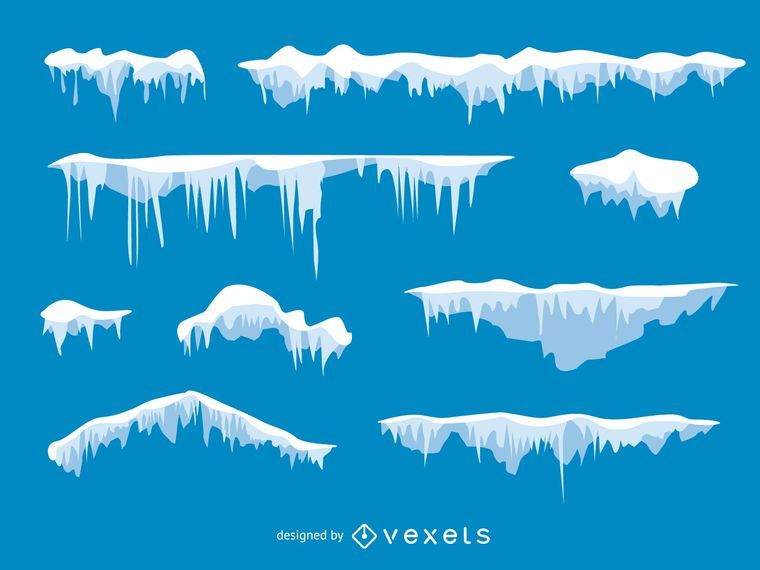 illustrated set of frost and snow vector download