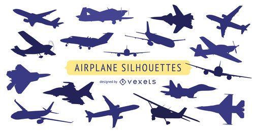 Coleção de silhueta de avião