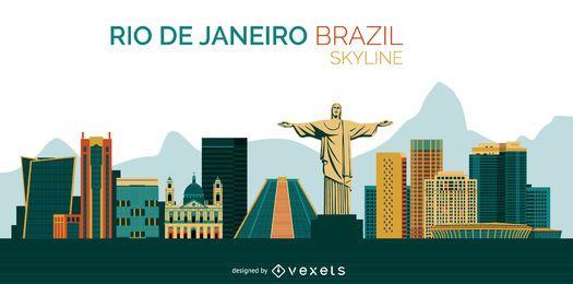 Diseño del horizonte de Río de Janeiro Brasil