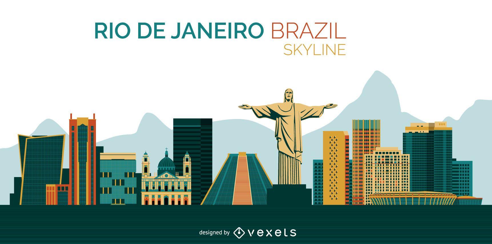 Rio de Janeiro Brazil skyline design