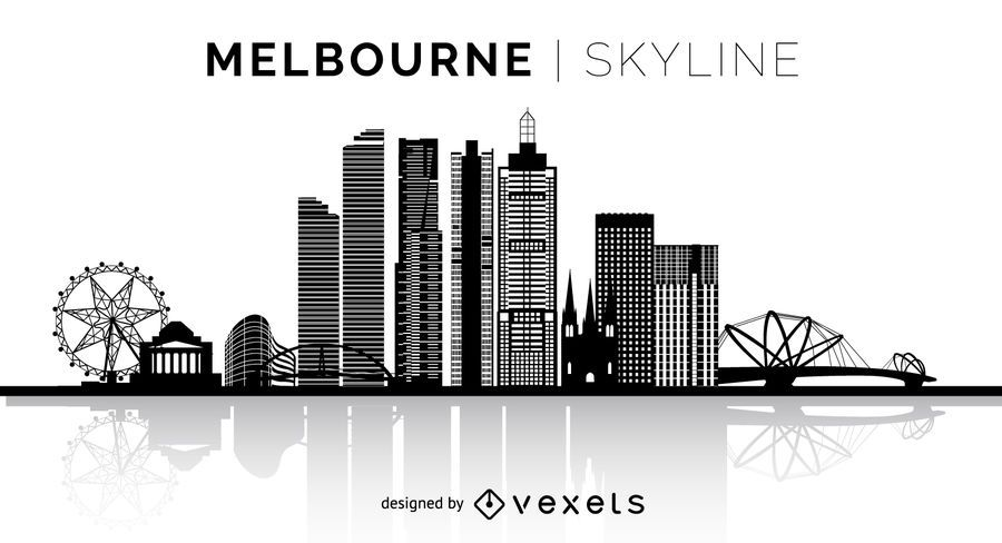 Silueta de Melbourne horizonte