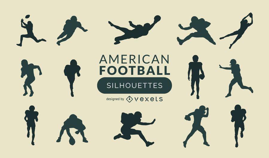 Conjunto de silhueta de futebol americano