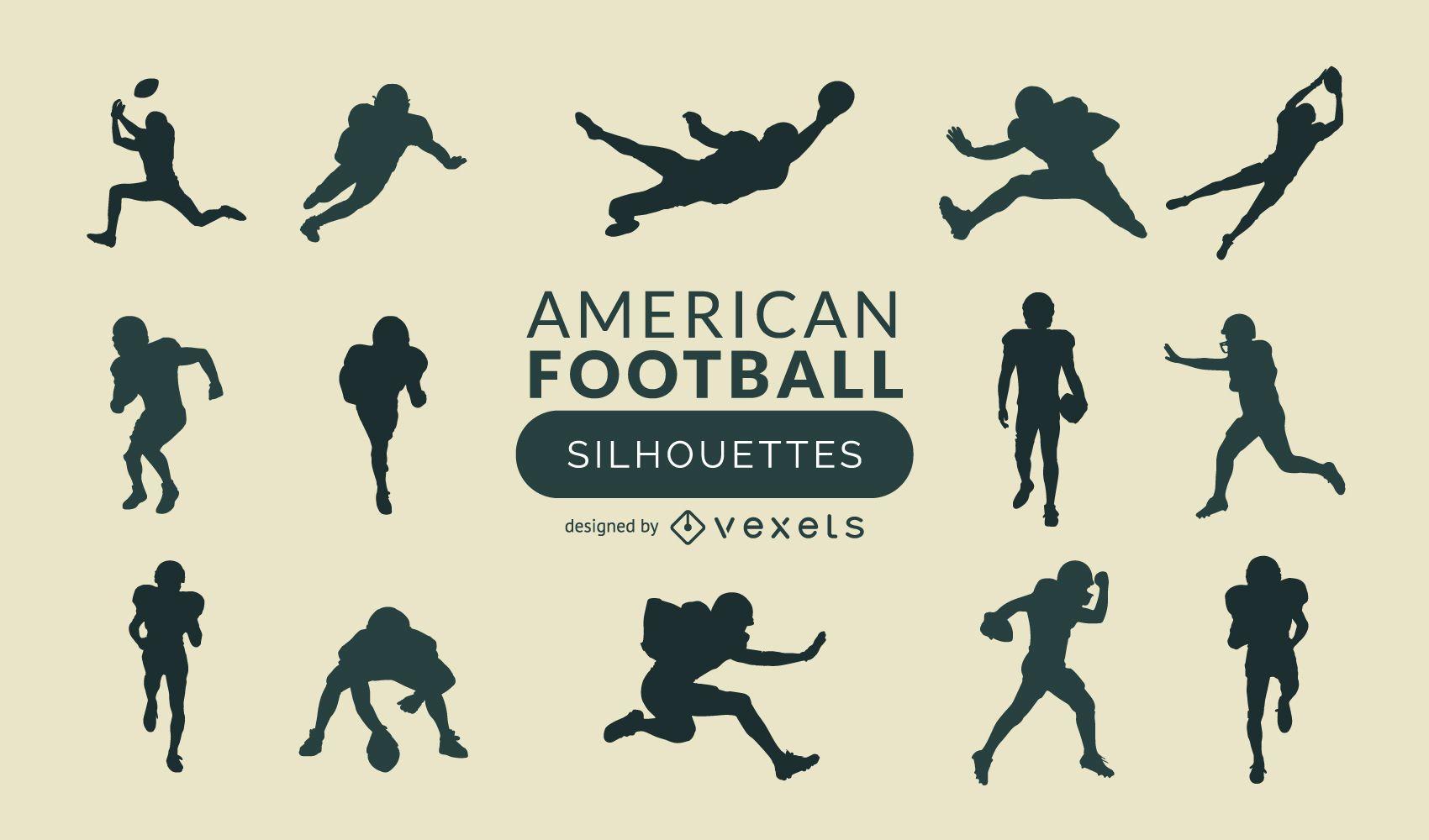 American Football silhouette set