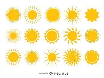 Coleção brilhante de sol amarelo
