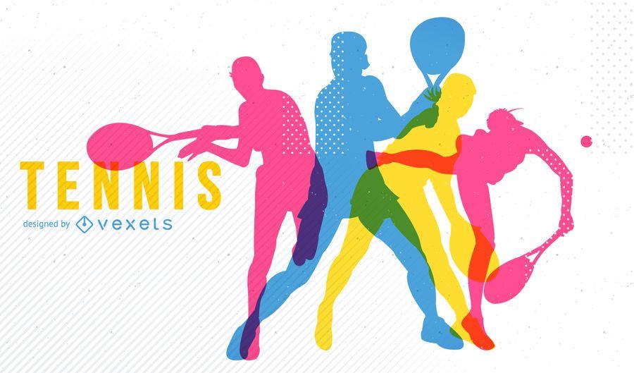 Brillante diseño de siluetas de tenis.