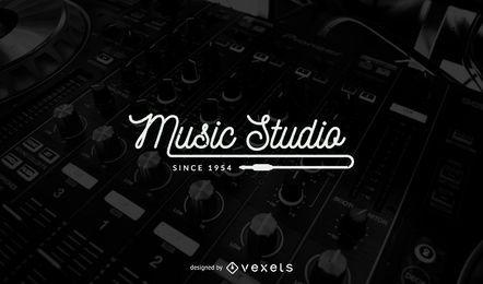 Diseño de la plantilla del logo del estudio de música