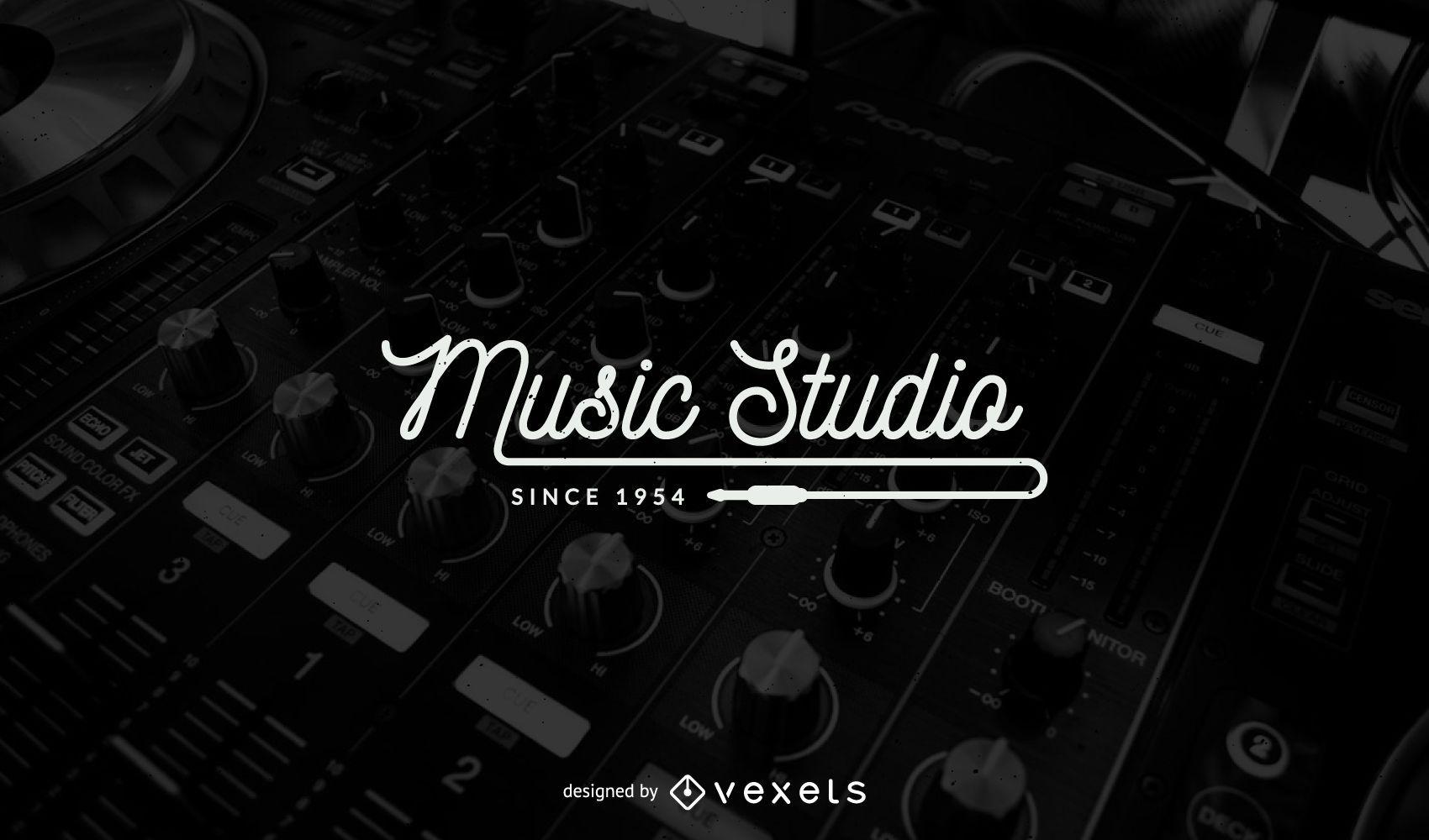 Modelo de design de logotipo de estúdio de música