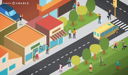 Ilustración de ciudad isométrica
