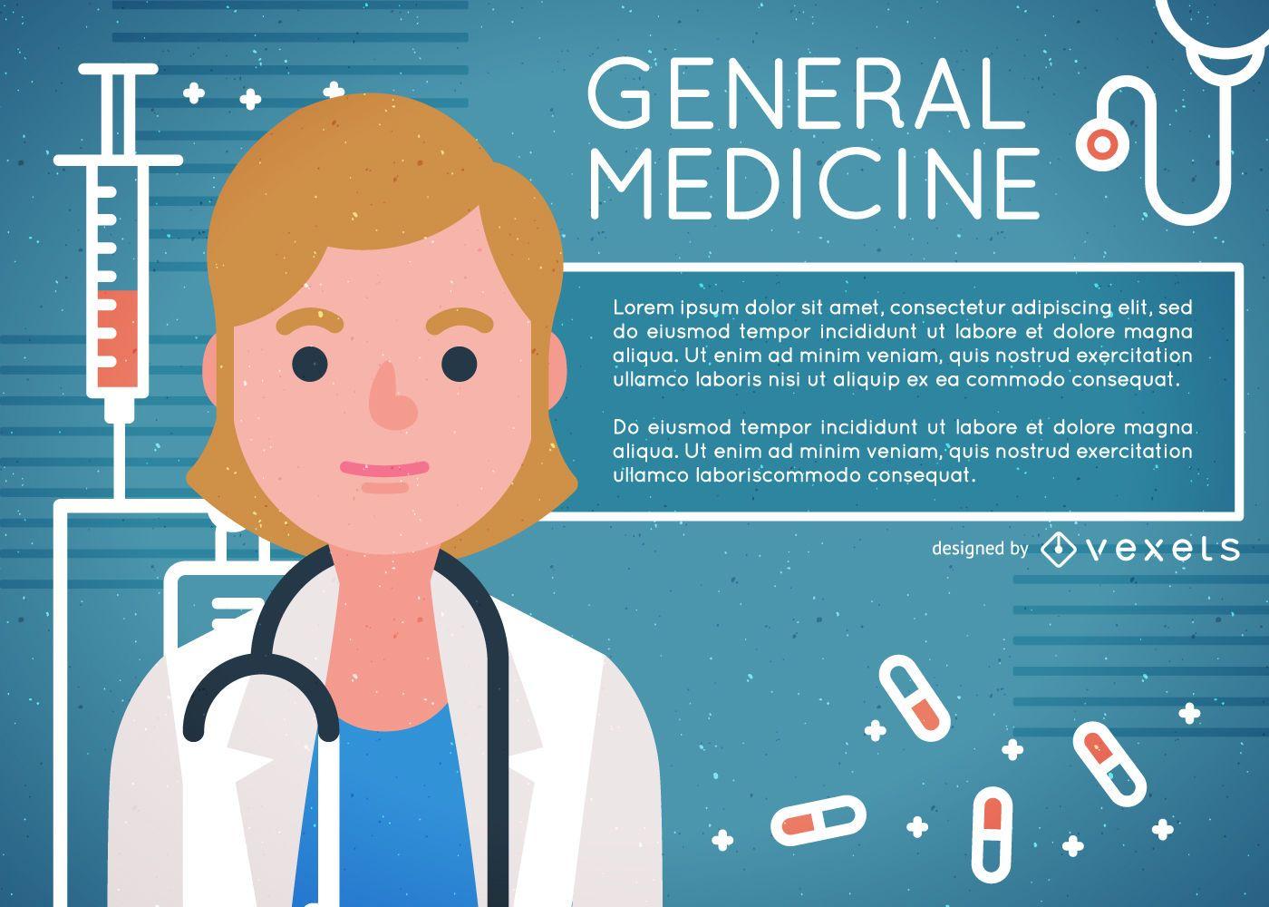 Cartel de ilustración de médico de medicina general