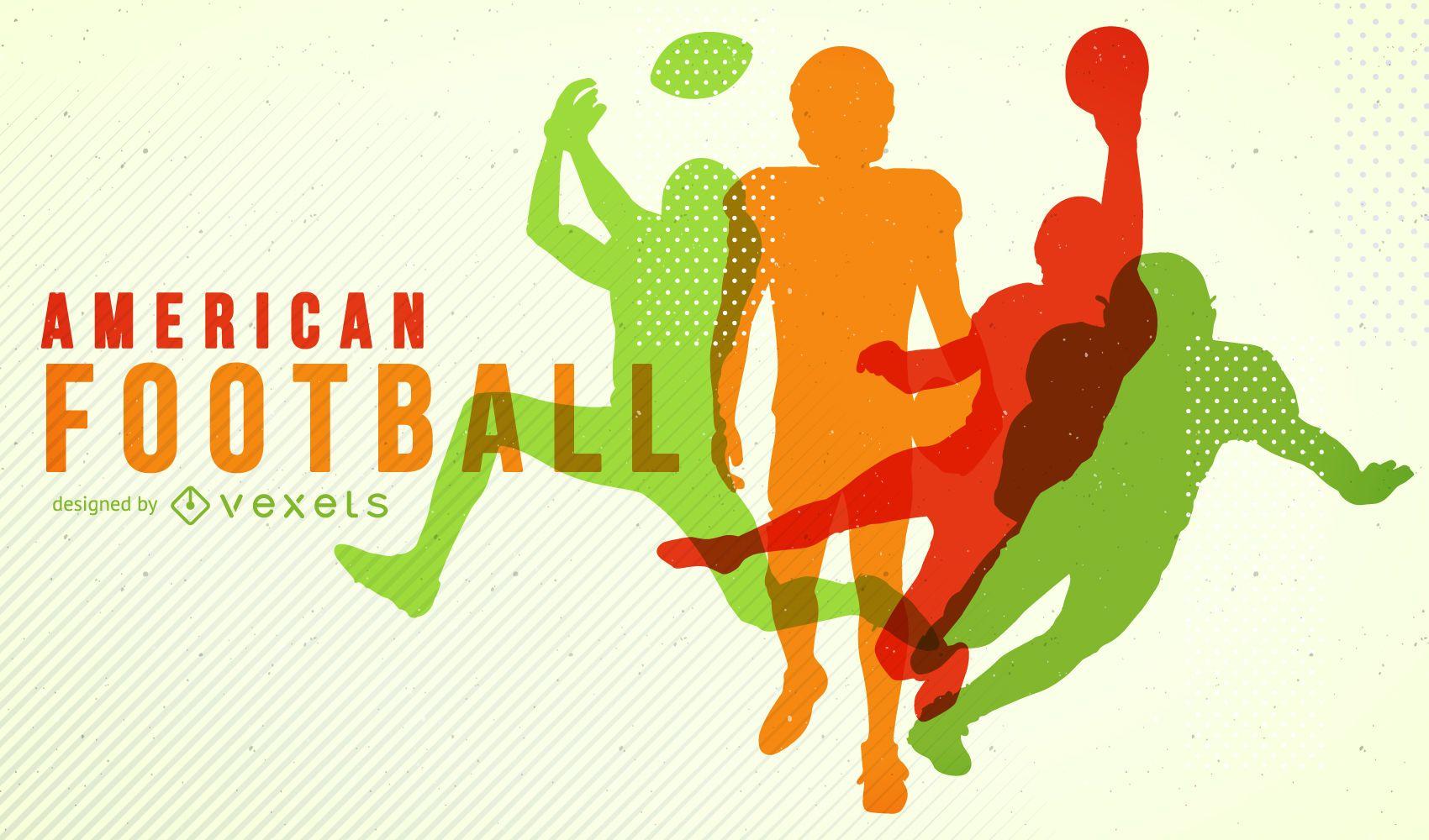 Cartel de silueta de fútbol americano colorido