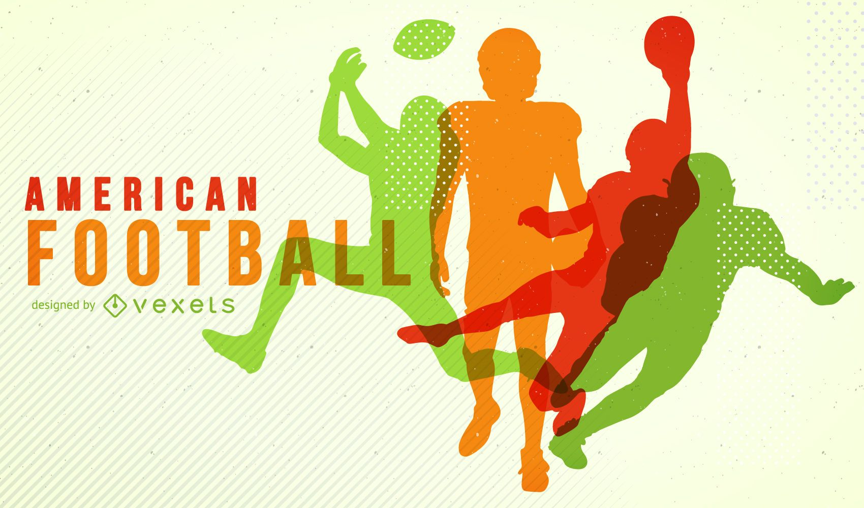 Colorful American Football silhouette poster