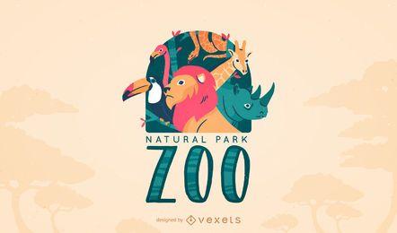 Modelo de logotipo de zoológico de animais