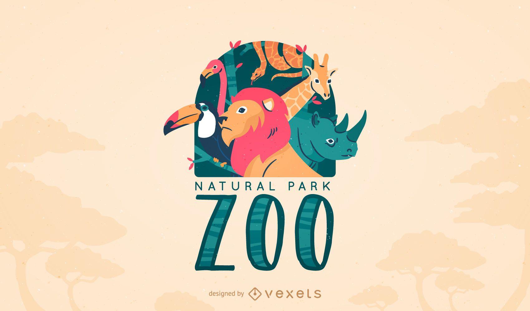 animal zoo logo template vector download