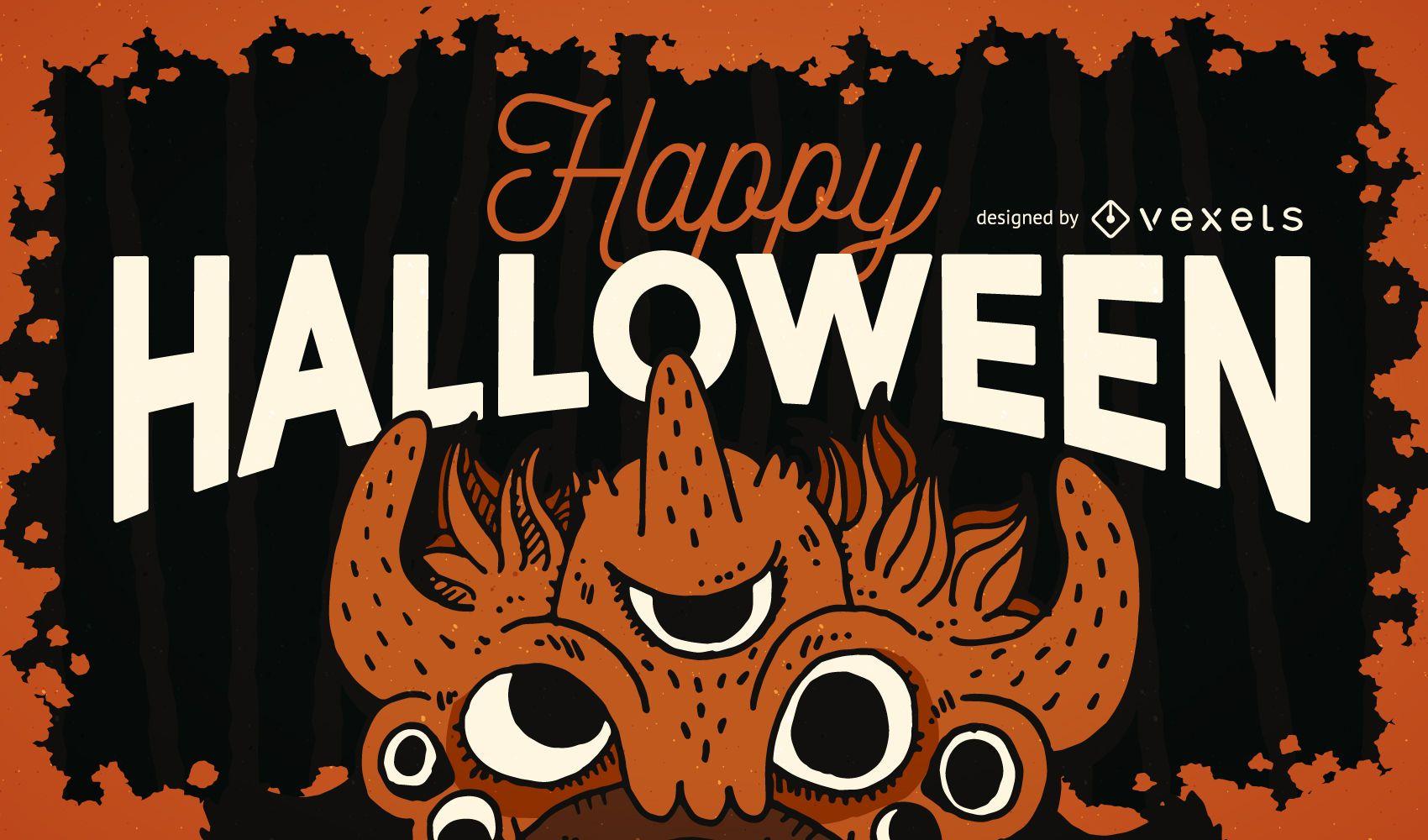 Happy Halloween poster design - Vector download