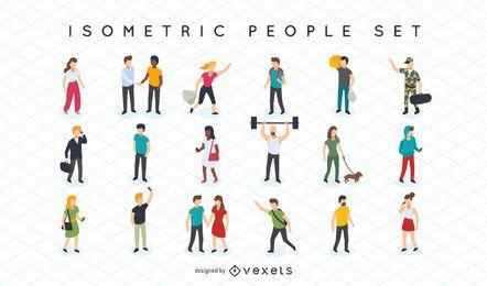 Conjunto de ilustração isométrica de pessoas