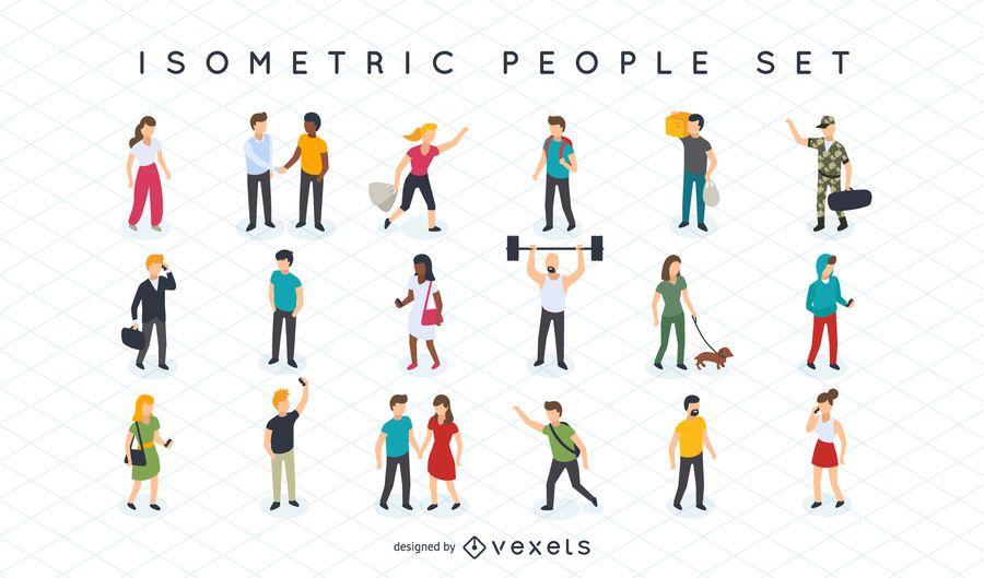 Jogo de ilustração de pessoas isométricas