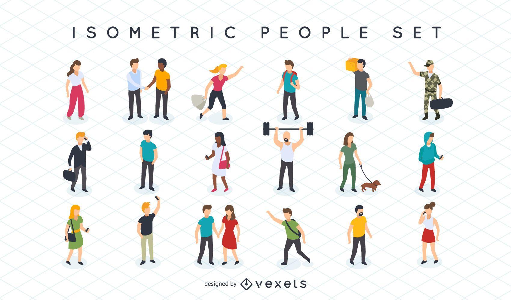 Isometric people illustration set