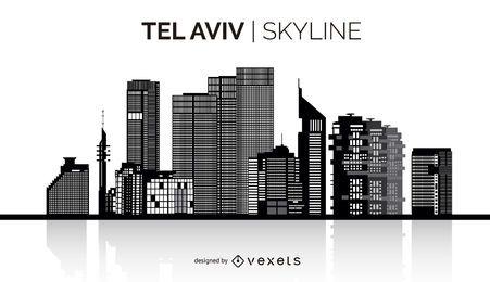 Skyline da silhueta de Tel Aviv