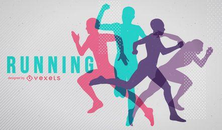 Poster brilhante das silhuetas running