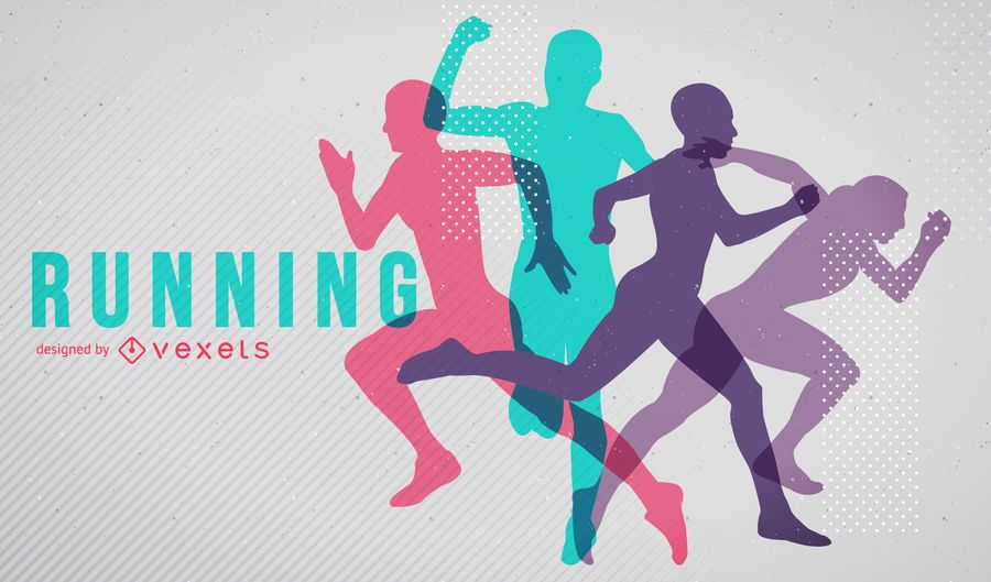 Bright running silhouettes poster