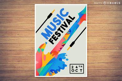 Projeto de cartaz colorido do Festival de Música