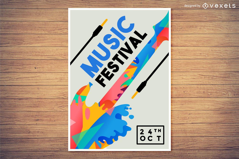 Design de pôster do Festival de Música Colorido